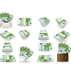 full set of hundred euros banknotes vector image