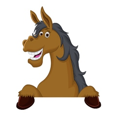 Funny horse cartoon with blank sign vector image