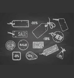 sale labels set on chalkboard vector image