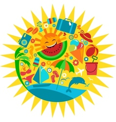 sun with template of summer icons vector image vector image