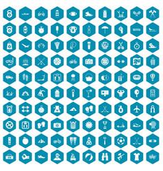 100 active life icons sapphirine violet vector image