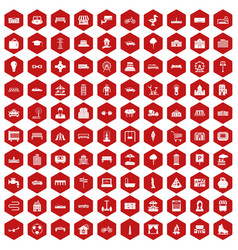 100 urban icons hexagon red vector