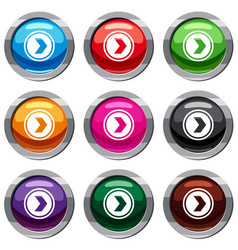 arrow to right in circle set 9 collection vector image