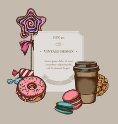 badge design with colored macaron candies paper vector image