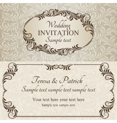 Baroque wedding invitation brown vector image