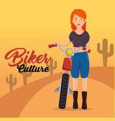 biker culture biker women riding motorbike vector image