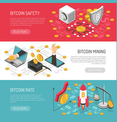 Bitcoin rate safety isometric banners vector