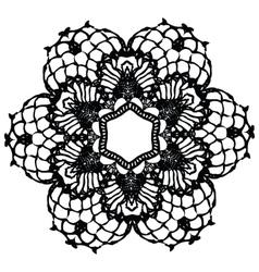 Black crochet doily vector