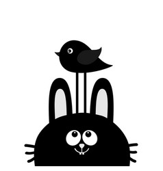 Black rabbit bunny face head silhouette looking vector