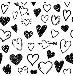 Black sketch hearts vector