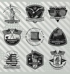 black vintage independence day labels set vector image
