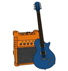 Blue electric guitar and the combo vector