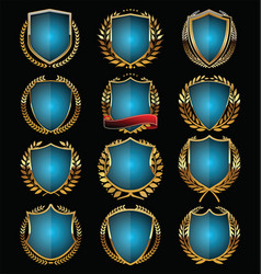 blue shields collection vector image