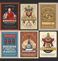Buddhism religion retro vintage posters vector