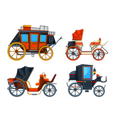 carriage flat style set of various vector image