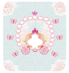 Carriage- vintage floral wedding invitation vector