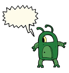 Cartoon alien robot with speech bubble vector