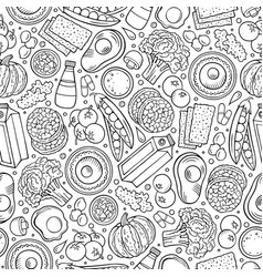 Cartoon hand-drawn diet food seamless pattern vector