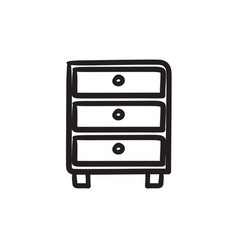Chest of drawers sketch icon vector