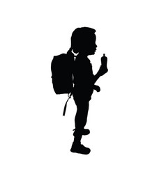 child silhouette standing with bottle vector image