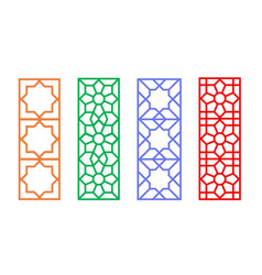 Chinese rectangle window frame with islamic linear vector
