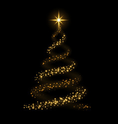 christmas tree card background gold vector image