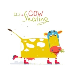 Colorful Fun Cartoon Roller Skating Cow Wearing vector image