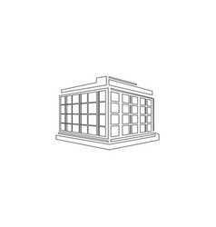 Commercial office building flat icon vector