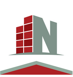 Construction business logo with the initials vector