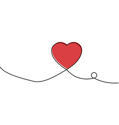 continuous one line drawing of red heart isolated vector image