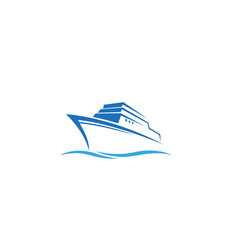 creative blue summer steamboat logo design symbol vector image