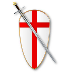 Crusaders shield and sword vector