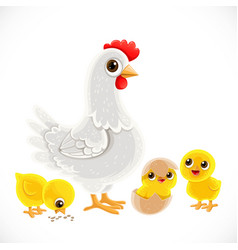Cute cartoon white chicken with chickens isolated vector