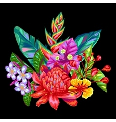 Decorative object with thailand flowers tropical vector