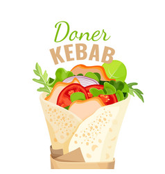 Delicious doner kebab full vegetables and vector