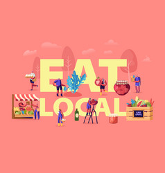 Eat local concept tiny characters buy fresh vector