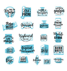 electronic digital gadgets and devices lettering vector image