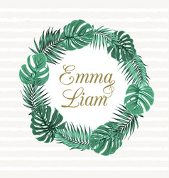 Exotic tropical leaves wreath wedding invitation vector