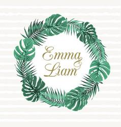 Exotic tropical leaves wreath wedding invitation vector
