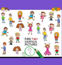 Find two identical pictures game for kids vector
