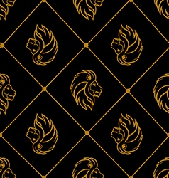 Gold lion heads on black background vector