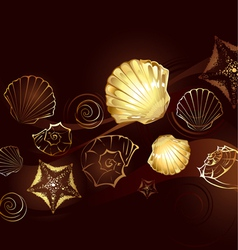 Gold seashells vector