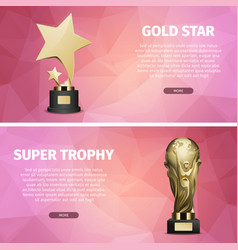 gold star and super trophy realistic vector image