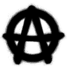 graffiti anarchy icon sprayed in black on white vector image