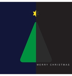 greeting card - Christmas halved green tree vector image