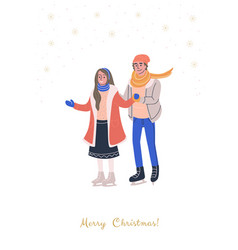 Greeting card with happy young skating couple vector