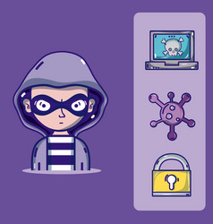 hacker with cybercrimes and virus symbols vector image