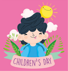 Happy children day cute little boy with tongue vector