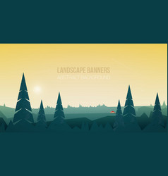 horizontal banner with beautiful forest landscape vector image