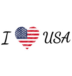 i love country usa america text heart doodle vector image